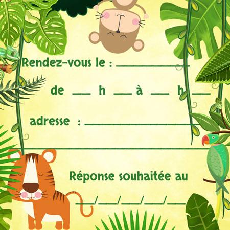 Verso avec texte à remplir carte anniversaire safari jungle
