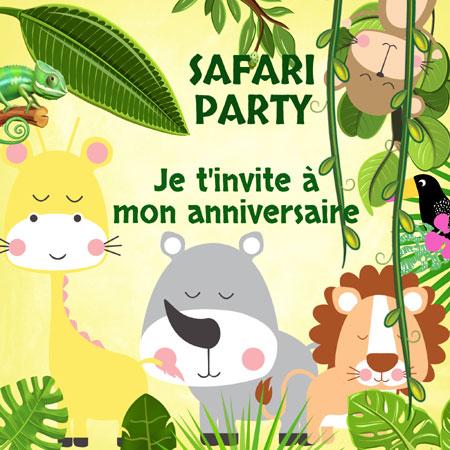 Recto carte anniversaire safari jungle