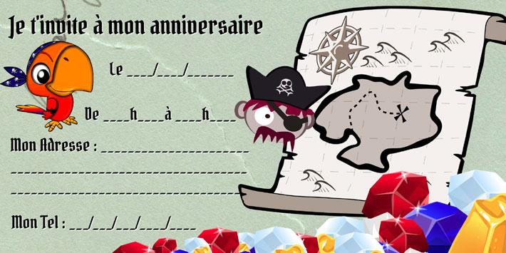 carte invitation anniversaire chasse aux trésors Pirate