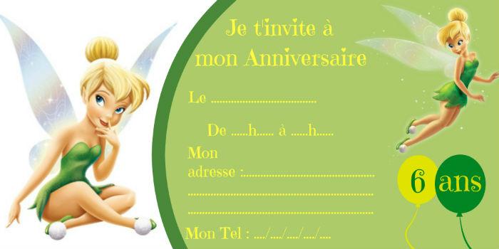 Modèle invitation anniversaire Fée Clochette