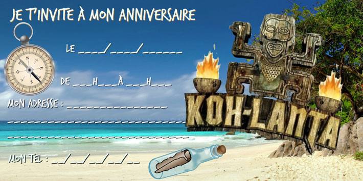 carte invitation anniversaire Koh Lanta