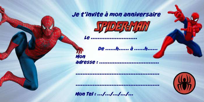 modèle invitation anniversaire Spiderman