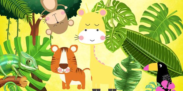 Exemples de dessins pour créer une carte invitation anniversaire safari jungle