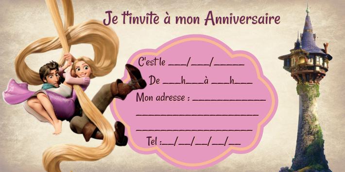 exemple modèle Invitation anniversaire Raiponce disney gratuit