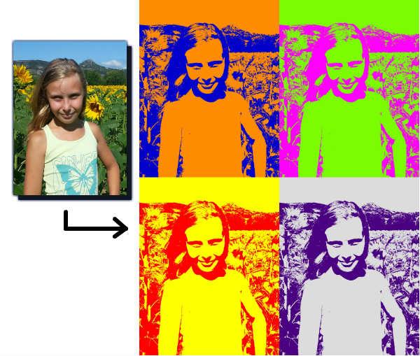 Exemple de montage photo style pop art et andy warhol