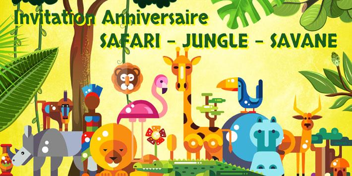Créer invitation anniversaire safari jungle ou savane
