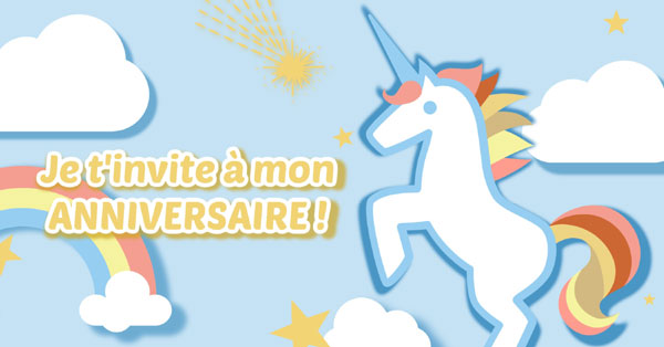 personnaliser une invitation anniversaire licorne large