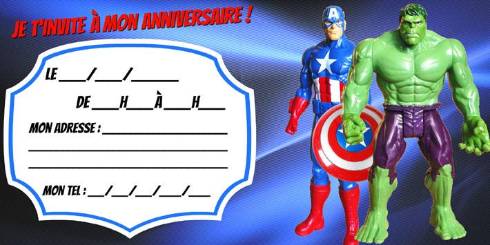 Invitation anniversaire Avengers