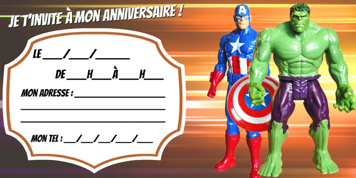 Invitation anniversaire Captain America Hulk