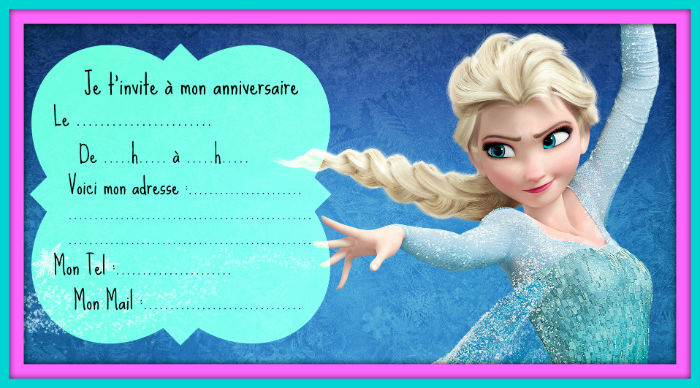 Photo pour invitation reine des neiges