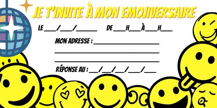 Modèle invitation anniversaire Emoji à télécharger