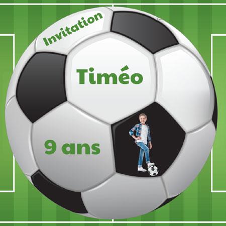 Carte invitation anniversaire ballon de foot