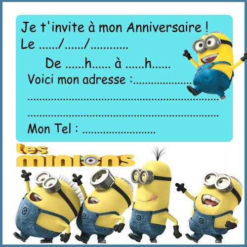 Exemples invitation anniversaire les minions