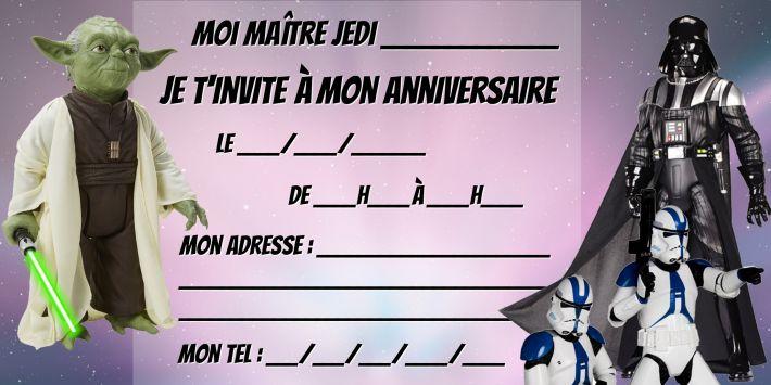 Modèle invitation anniversaire Star Wars à télécharger