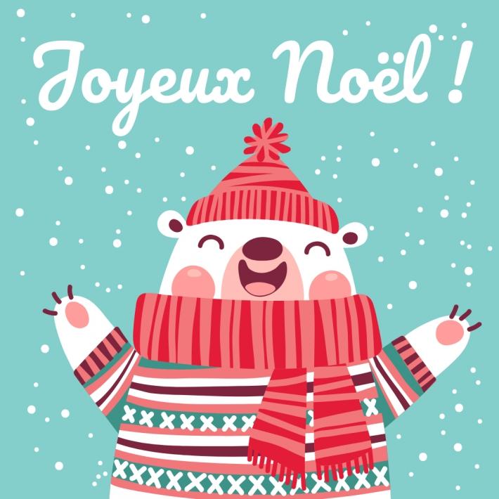 Carte de Noël carrée avec un ours blanc chaudement habillé