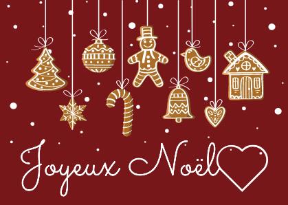 Une carte postale Joyeux Noël sur le thème des personnages en pain d épices