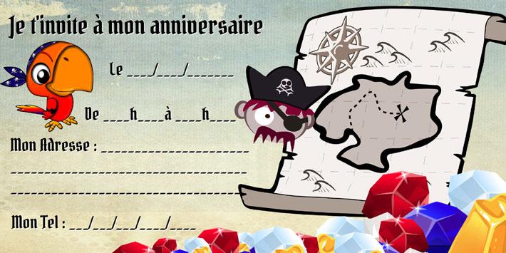 Modèle invitation anniversaire chasse aux pirates trésor à imprimer