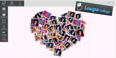 Collage photo en forme de coeur