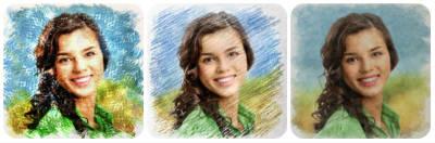 photo en croquis au crayon de couleurs et griffonné au stylo bille