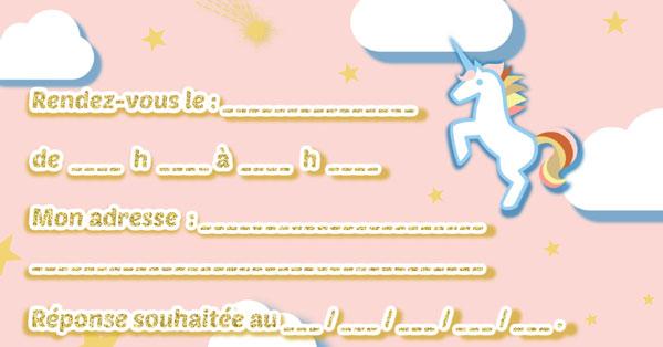 Verso carte invitation anniversaire licorne
